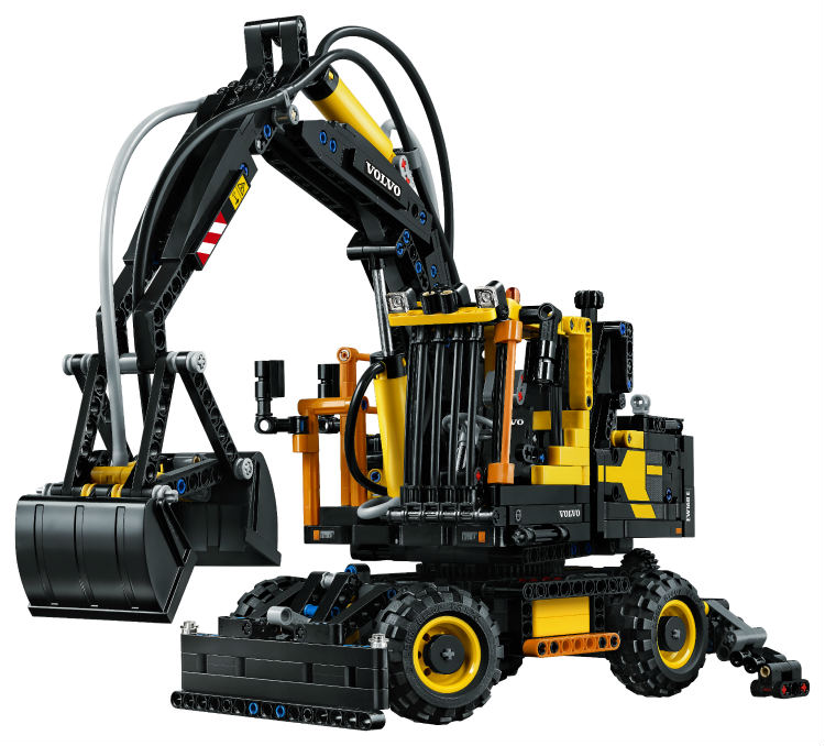 LEGO Technic builds air-powered mini wheeled excavator