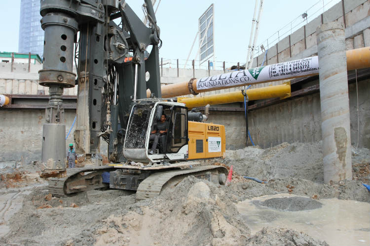 Liebherr rotary drilling rig at Dubai's Culture Village