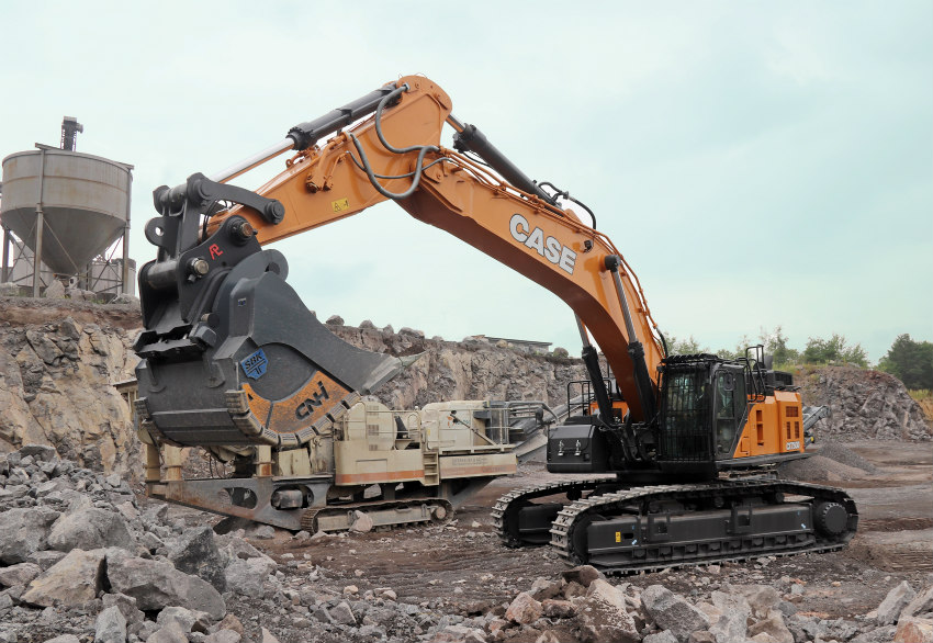The CX750D delivers reliability and impressive productivity in Basalt quarries in Germany