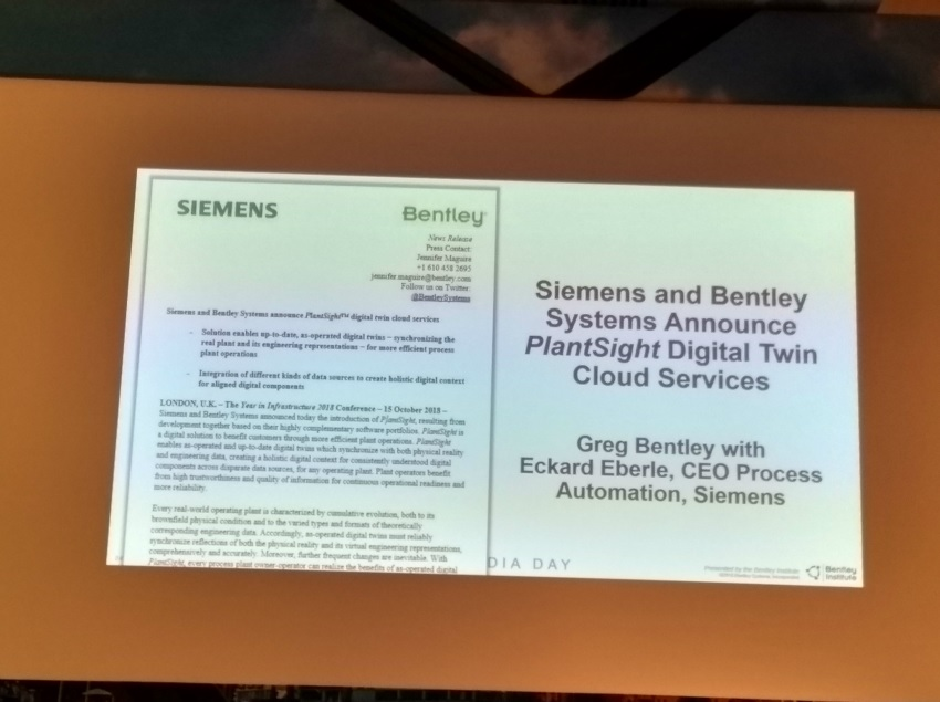 Siemens and Bentley Systems announce PlantSight digital twin cloud services