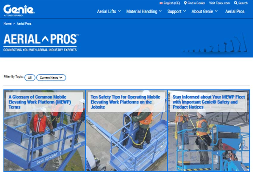 New ti EMEAR & APAC — GENIE ® AERIAL PROS ™ website expands