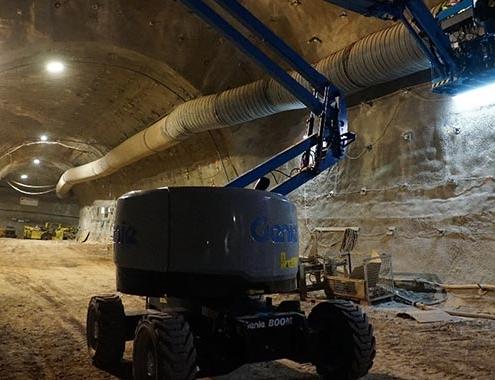 Genie Z-45 XC™ boom lift goes 1,000 M (3,280 ft) underground