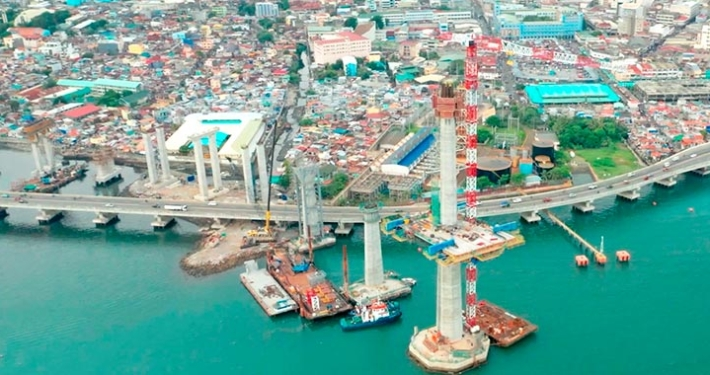 The Cebu Bridge, being constructed by ACCIONA in the Philippines, now more than 50% complete